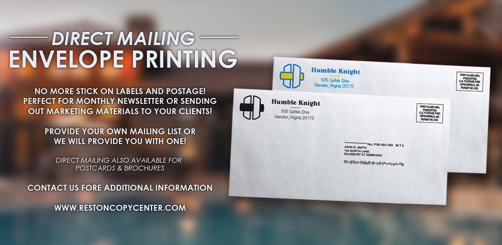 reston copy center direct mailing postage printing