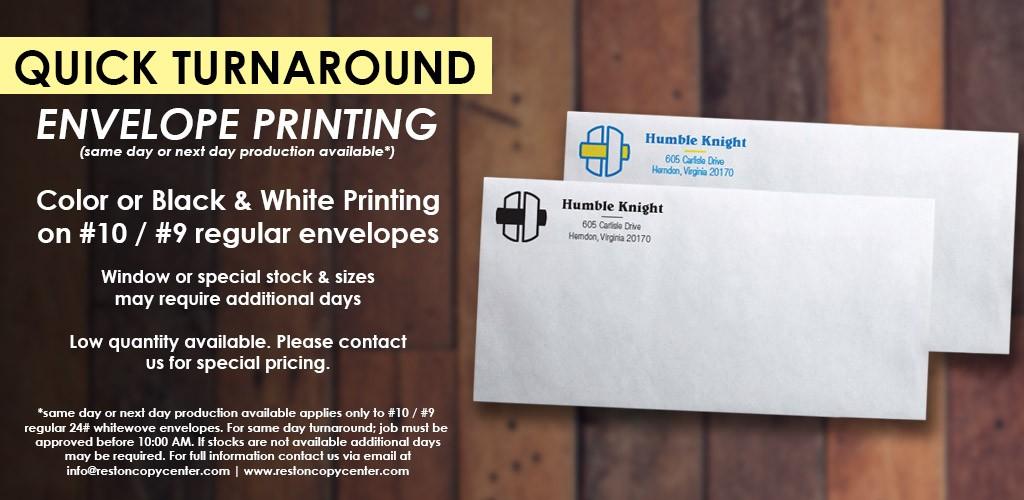 reston envelope printing